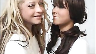 Blonde Teen Penetrates A Brunette Schoolgirl With Strapon